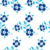 bezszwowy kwiecisty wzoru Błękitni kwiaty, liście Zdjęcie Stock