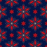 bezszwowy kwiecisty wzoru Barwiony czerwieni i błękita tło ilustracja wektor