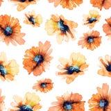 bezszwowy kwiecisty wzoru Słoneczniki akwarela royalty ilustracja