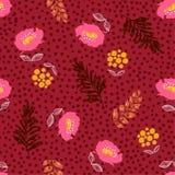 Bezszwowy kwitnący kwiecisty deseniowy wektor, kwiaty na ręka rysującym o Fotografia Stock