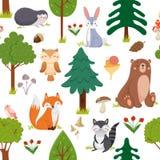 Bezszwowy lasów zwierząt wzór Lato przyrody zwierzęcia i las kreskówki wektoru lasowy śliczny kwiecisty tło ilustracji