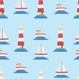 Bezszwowy latarni morskiej i łodzi tło ilustracji