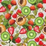 Bezszwowy lato owoc wzór royalty ilustracja