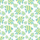 Bezszwowy lato wzór z ślicznymi lampas rybami Wektorowa denna ilustracja dla dzieci, wakacje, tło, druk, tkanina, ilustracja wektor