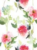Bezszwowy lato wzór z akwarela kwiatami Obrazy Royalty Free