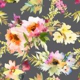 Bezszwowy lato wzór z akwarela kwiatami Zdjęcia Royalty Free
