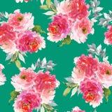 Bezszwowy lato wzór z akwarela kwiatami Obraz Royalty Free