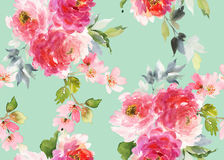 Bezszwowy lato wzór z akwarela kwiatami Obraz Stock