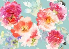 Bezszwowy lato wzór z akwarela kwiatami Zdjęcie Stock