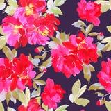 Bezszwowy lato wzór z akwarela kwiatami Zdjęcie Royalty Free