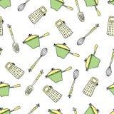Bezszwowy śliczny wzór z kuchennymi rzeczami Fotografia Stock