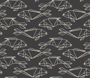 Bezszwowy liniowy wielobok ryba wzór royalty ilustracja