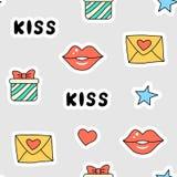 Bezszwowy listu wzór, prezent, buziak Zdjęcie Stock