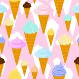 bezszwowy lodu kremowy wzór Deserowa gofr filiżanki tekstura Sweetnes Zdjęcie Stock