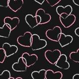 Bezszwowy menchii i czerni serc wzór piękny projekt walentynki wektor ilustracyjny ilustracja wektor