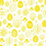 Bezszwowy minimalny Easter wzór z jajkami i wiosną leafs Zdjęcia Stock