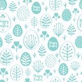 Bezszwowy minimalny Easter wzór z jajkami i wiosną leafs Obrazy Royalty Free