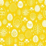Bezszwowy minimalny Easter wzór z jajkami i wiosną leafs Zdjęcia Royalty Free