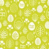 Bezszwowy minimalny Easter wzór z jajkami i wiosną leafs Zdjęcie Royalty Free