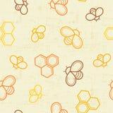 Bezszwowy miodu wzór z zarysowanymi miodowymi pszczołami i miodowymi komórkami Obrazy Stock