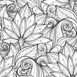 Bezszwowy monochromatyczny kwiecisty wzór ilustracji