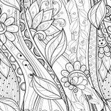 Bezszwowy monochromatyczny kwiecisty wzór ilustracja wektor