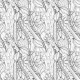 Bezszwowy Monochromatyczny Kwiecisty wzór (wektor) ilustracji