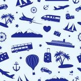 Bezszwowy monochromu wzór na podróży i turystyce Zdjęcie Royalty Free