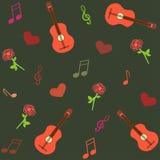 Bezszwowy musicalu wzór z gitarami i różami royalty ilustracja