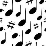 Bezszwowy muzyka wzór z notatką ilustracja wektor