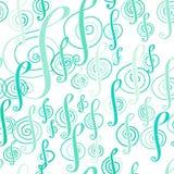 Bezszwowy muzyka wzór z treble clef Obrazy Royalty Free