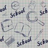 Bezszwowy na szkolnym temacie dla notatników, książkowe pokrywy, strony internetowe, Fotografia Stock
