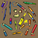 Bezszwowy nakreślenie edukaci doddle elementy dalej Obraz Royalty Free