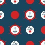 Bezszwowy nautyczny deseniowy wektor z kotwica statku kół polki czerwonymi kropkami i denna miłość z kierowego morskiego tło rocz Obrazy Royalty Free