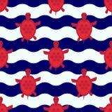 Bezszwowy nautyczny wzór z małymi czerwonymi żółwiami Obraz Stock