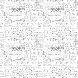 Bezszwowy niekończący się deseniowy tło z ręcznie pisany matematycznie formułami Fotografia Stock