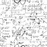 Bezszwowy niekończący się deseniowy tło z ręcznie pisany matematycznie formułami Obrazy Stock