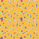 Bezszwowy niekończący się wzór z ręki rysować atrament ikonami dla medycyny i zdrowie Obrazy Royalty Free