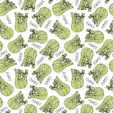 Bezszwowy Niekończący się wzór Zielony koper Balb Jarzynowa kolekcja Eps10 Wektor Ręka Rysujący Doodle styl Realistyczny royalty ilustracja