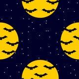 Bezszwowy nocy sceny wzór z nietoperzami, księżyc i gwiazdami latania, royalty ilustracja