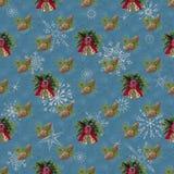 Bezszwowy, nowego roku tło dla wakacyjnej dekoracji błękitny zdjęcia royalty free