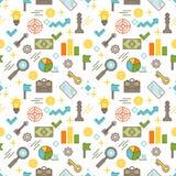 Bezszwowy obrazkowy biznesowy o temacie kreskowego stylu wektoru wzór Zdjęcia Stock