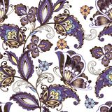 Bezszwowy orientalny kwiecisty wzór z motylami Rocznik kwitnie bezszwowego ornament w błękitnych kolorach ornament dekoracyjny ilustracji