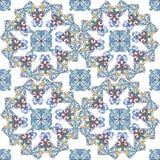 Bezszwowy orientalny ornamentacyjny wzór Wektorowe geometryczne płytki z mandala Dekoracyjny ornamentu tło dla tkaniny, tkanina royalty ilustracja