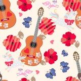 Bezszwowy ornament dla dzieciak?w Jednorożec, mali lisy, błękitni motyle, drewniane gitary, serca i czerwoni makowi kwiaty na beż royalty ilustracja