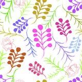 Bezszwowy ornament z egzotów liśćmi kwitnie abstrakcjonistycznego tło Obraz Stock