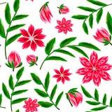 Bezszwowy ornament z egzotów liśćmi kwitnie abstrakcjonistycznego tło Obraz Royalty Free