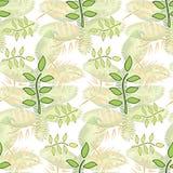 Bezszwowy ornament z egzotów liśćmi kwitnie abstrakcjonistycznego tło Zdjęcia Royalty Free