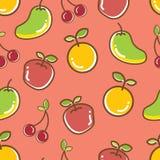 Bezszwowy owoc wzór, jabłczany pomarańczowy radosny mango obraz stock
