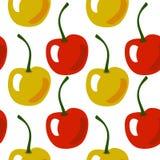 Bezszwowy owoc wzór z żółtą i czerwoną wiśnią ilustracja wektor